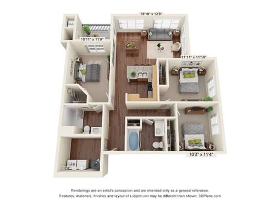 Floor Plan  Scharbauer Flats_3 Bedroom Floor Plan_C2