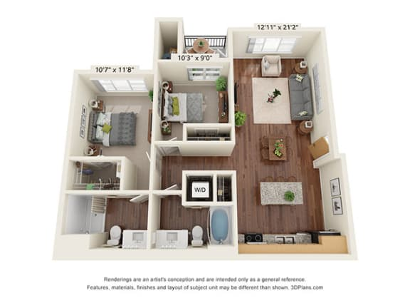 Floor Plan  Scharbauer Flats_2 Bedroom Floor Plan_D1