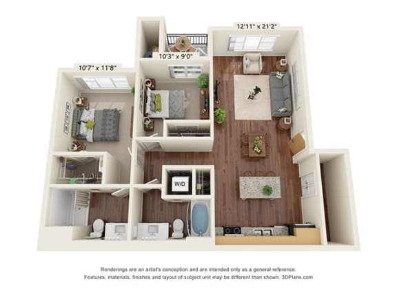 Floor Plan  Scharbauer Flats_2 Bedroom Floor Plan_D2