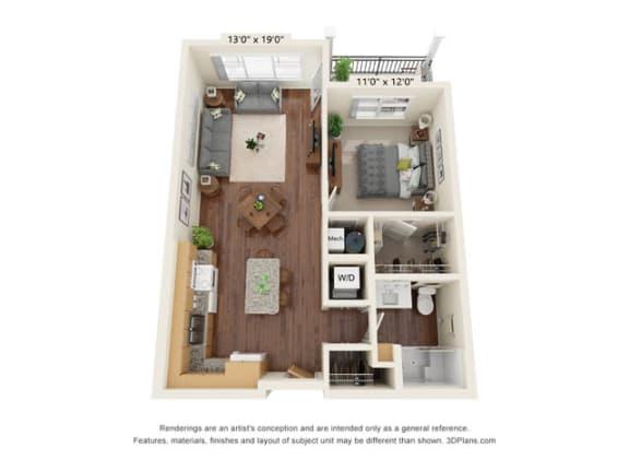 Floor Plan  Stonepointe_1 Bedroom Floor Plan_A1