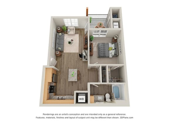 Floor Plan  Timbers at Hickory Tree 1 Bedroom Floor Plan