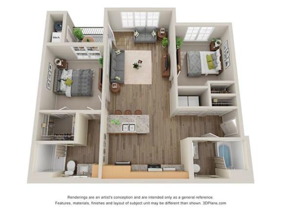 Floor Plan  Timbers at Hickory Tree 2 Bedroom Floor Plan