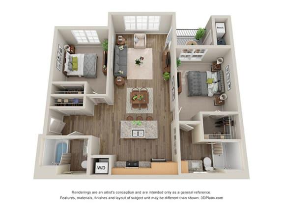 Floor Plan  Timbers at Hickory Tree 2 Bedroom Floor Plan_2B