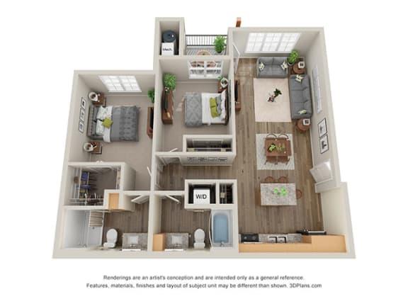 Floor Plan  Timbers at Hickory Tree 2 Bedroom Floor Plan_2C