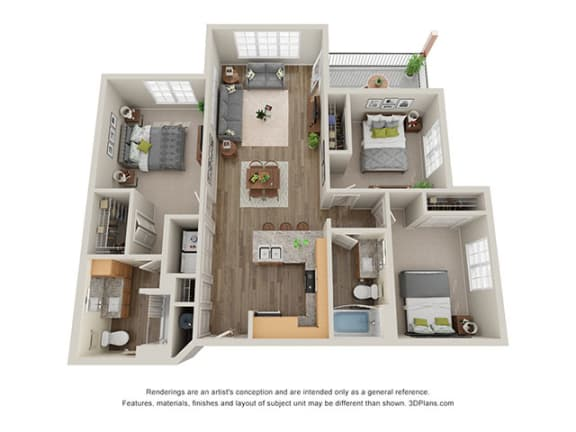 Floor Plan  Timbers at Hickory Tree 3 Bedroom Floor Plan_3B