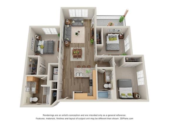 Floor Plan  Timbers at Hickory Tree 3 Bedroom Floor Plan