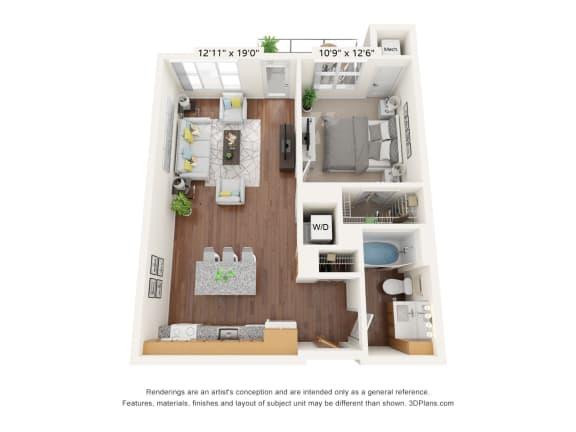Floor Plan  Brighton Oaks_1 Bedroom Floor Plan_1B