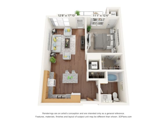 Floor Plan  Brighton Oaks_1 Bedroom Floor Plan_1C