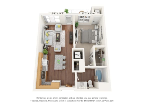 Floor Plan  Brighton Oaks_1 Bedroom Floor Plan_1D