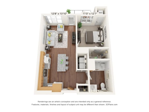 Floor Plan  Brighton Oaks_1 Bedroom Floor Plan_1E-ADA
