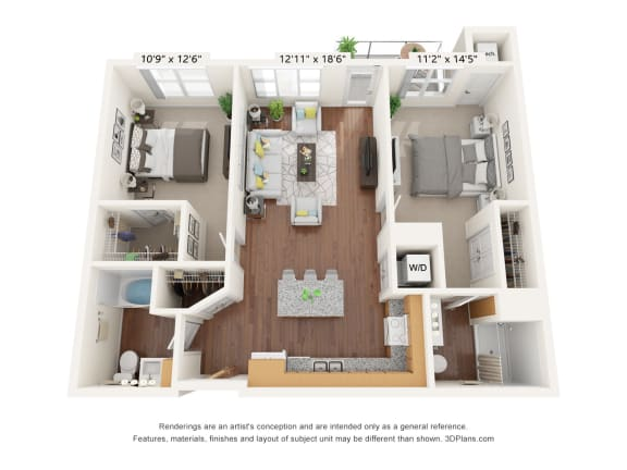 Floor Plan  Brighton Oaks_2 Bedroom Floor Plan_2B