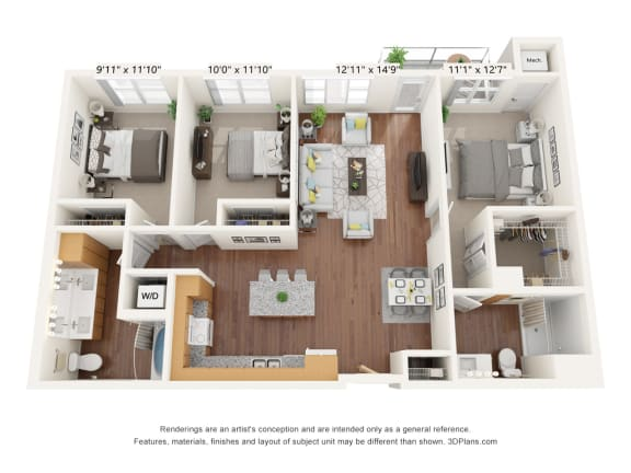 Floor Plan  Brighton Oaks_3 Bedroom Floor Plan_3A