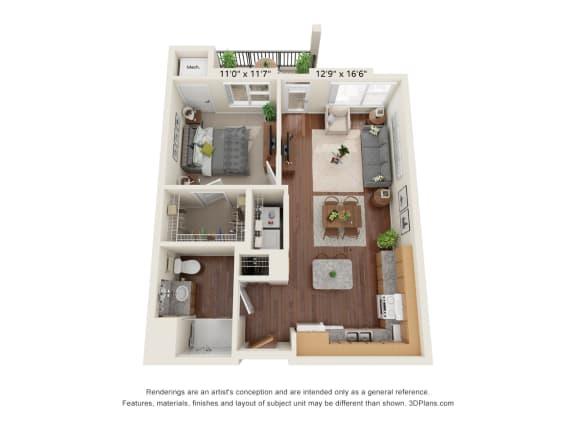 Floor Plan  Centennial Crossings_3D_1 Bedroom A1-ADA