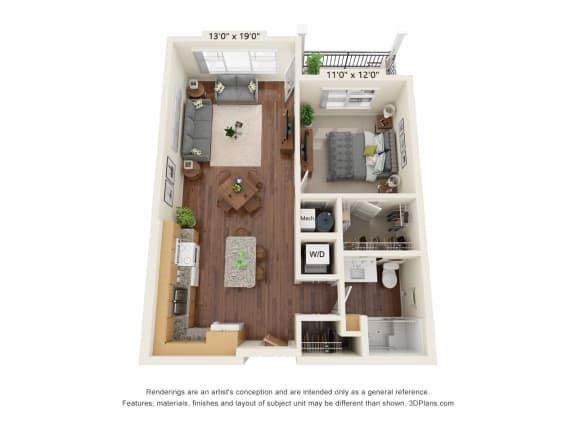 Floor Plan  Grayson Ridge_1 Bedroom Floor Plan_A1