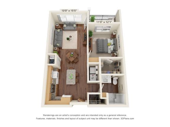 Floor Plan  Grayson Ridge_1 Bedroom Floor Plan_A2