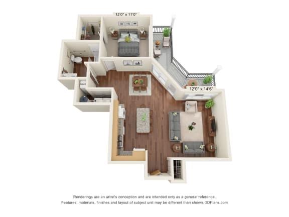 Floor Plan  Grayson Ridge_1 Bedroom Floor Plan_A3-ADA