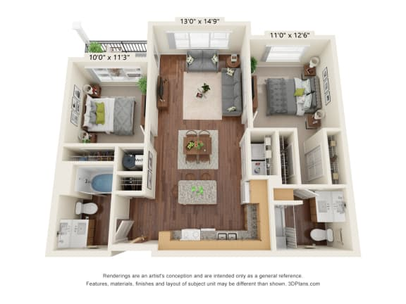 Floor Plan  Grayson Ridge_2 Bedroom Floor Plan_B1