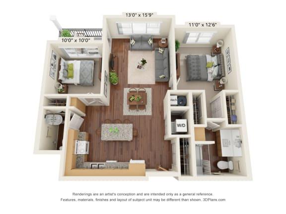 Floor Plan  Grayson Ridge_2 Bedroom Floor Plan_B2