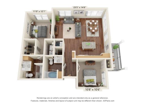 Floor Plan  Grayson Ridge_2 Bedroom Floor Plan_B5