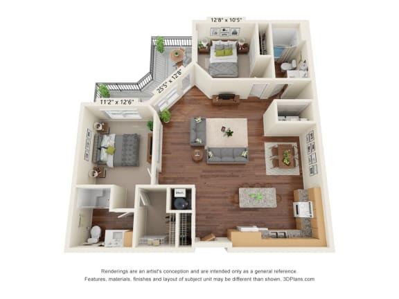 Floor Plan  Grayson Ridge_2 Bedroom Floor Plan_B6