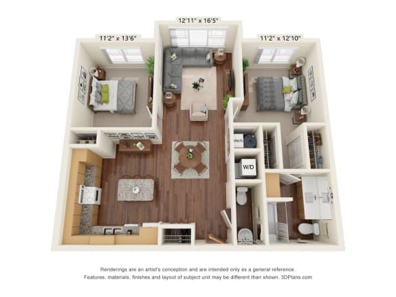 Floor Plan  Grayson Ridge_2 Bedroom Floor Plan_B7