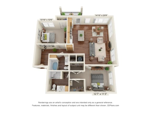 Floor Plan  Grayson Ridge_2 Bedroom Floor Plan_B8
