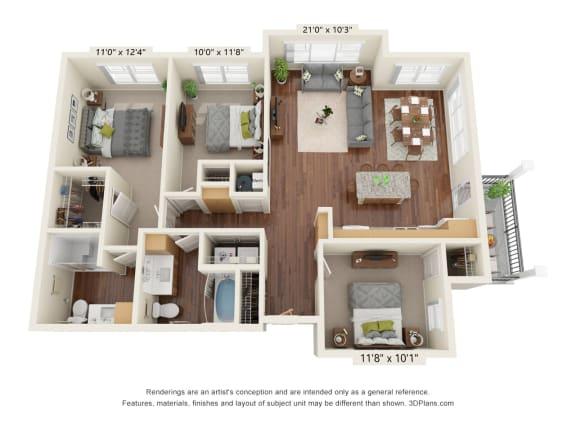Floor Plan  Grayson Ridge_3 Bedroom Floor Plan_C1