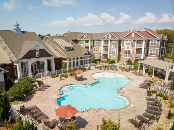 Pool Ariel view at Pavilion Village, North Carolina, 28262