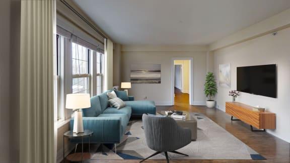Sun filled Modern Living Room