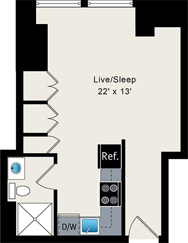 Studio Apartment at the Belmont by Reside, Lakeview