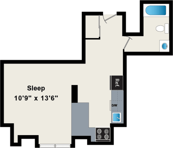 Studio Floor plan at The Belmont by Reside Apartments, Chicago, IL