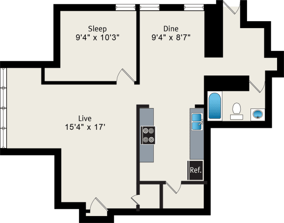 One-Bedroom Apartment at Irving Courts by Reside