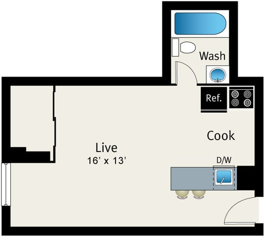 Studio Floor plan at The Belmont by Reside Apartments, Illinois, 60657-4830