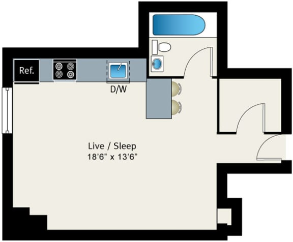 Studio Floor plan at The Belmont by Reside Apartments, 60657-4830, IL
