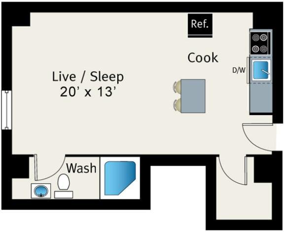Studio Floor plan at The Belmont by Reside Apartments, 3170 N Sheridan Rd, 60657-4830