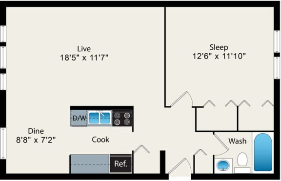 1 Bedroom Floor plan Option 1 at Reside at 2727 Apartments, 60614, Chicago