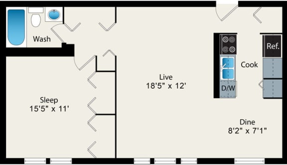 1 Bedroom Floor plan at Reside at 2727 Apartments, IL, 60614