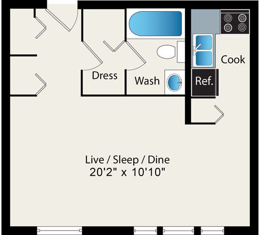 Studio Floor Plan Option 2 at Reside at 2727 Apartments, 2727 N Pine Grove Ave, Chicago