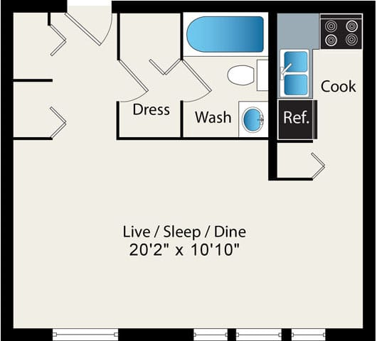 Studio Floor Plan Option 3 at Reside at 2727 Apartments, 2727 N Pine Grove Ave, 60614