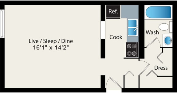 Studio Floor Plan Option 4 at Reside at 2727 Apartments, Chicago, IL