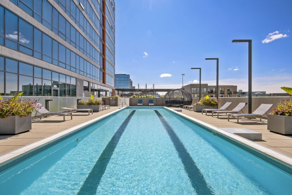 Pool on terrace in River West Chicago Apartments