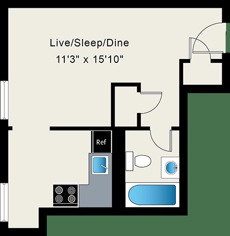 Studio Apartment at Reside on Wellington