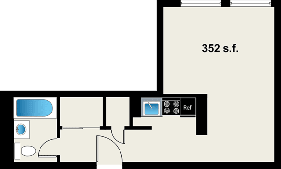 Reside on Wellington Studio Floor Plan