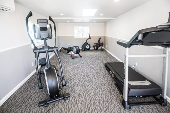 Fitness center with cardio equipment at Stone Creek, Redwood City, CA