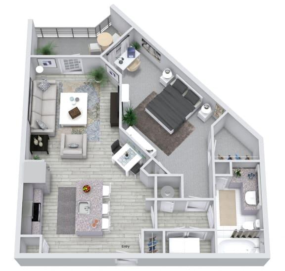 1 Bedroom 1 Bath 749 sqft (A2) Floorplan at NorthPointe, Greenville