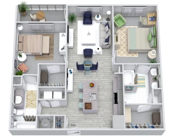 2 bed 2 bath floorplan, at NorthPointe, Greenville, 29601