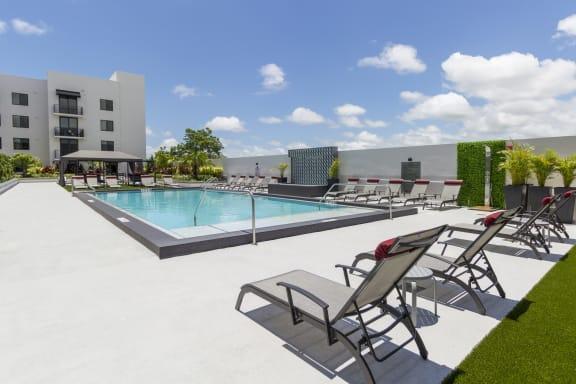 Extensive Resort Inspired Pool Deck at Bay Village1, Palmetto Bay, Florida