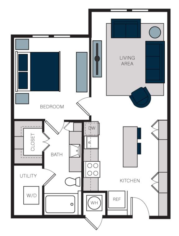 """A2"" 1 Bedroom 1 Bath Floor Plan at The Alastair at Aria Village, Sandy Springs, 30328"
