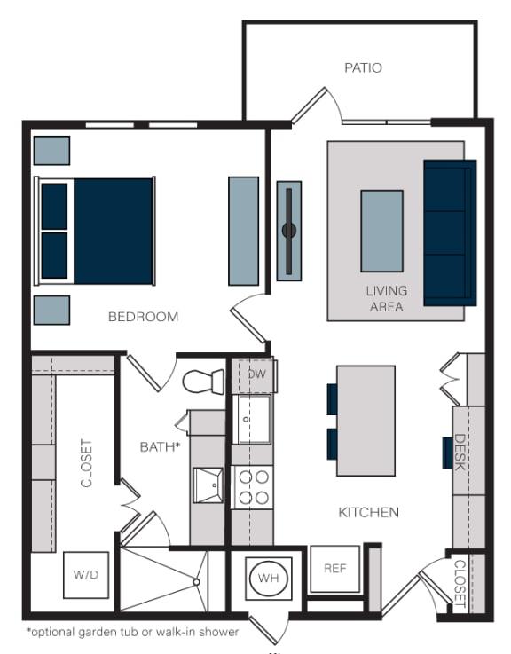"""A4"" 1 Bedroom 1 Bath Floor Plan at The Alastair at Aria Village, Sandy Springs"