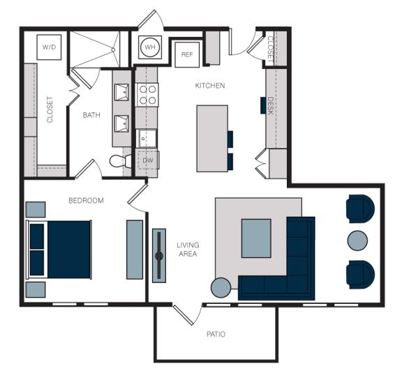 """A6"" 1 Bedroom 1 Bath Floor Plan at The Alastair at Aria Village, Georgia, 30328"